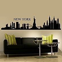 "Wall Decal Decor New York Wall Decal City NYC Landmark Liberty Skyline Cityscape Travel Vacation Destination USA (10""h x42""w,Black)"