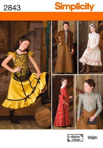 Western Saloon Girl Costume Pattern (Simplicity Sewing Pattern 2843 Girl Costumes, A (7-8-10-12-14))