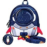 yisibo Kids Backpacks with Reins,Toddler Rocket Backpack for Boys Girls, Cartoon Safety Anti-Lost Strap Rucksack with…