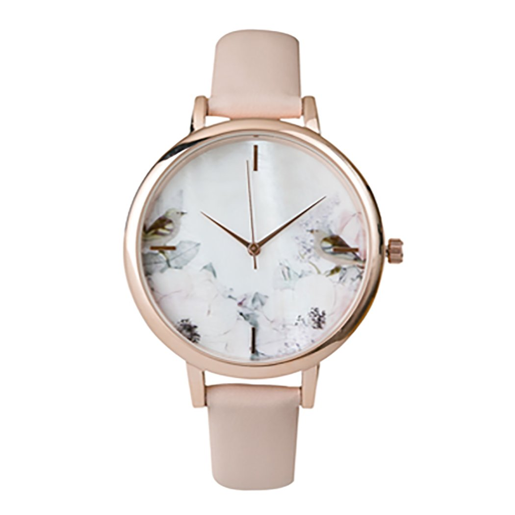 Rosemarie Collections Women's Summer Flower and Mother of Pearl Face Fashion Watch with Genuine Leather Band (Blush/Bird)