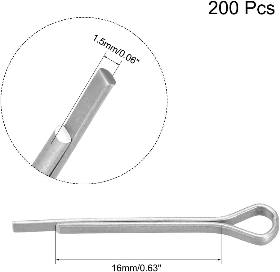 uxcell 3mm x 25mm Zinc-Plating Steel Spring Cotter Clip Pin R Shape Hardware 50 Pcs