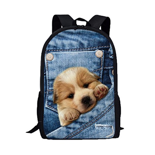 BCDshop Denim Backpack Men Women School College Travel Satchel Bags Cute 3D Puppy Print Rucksack (Blue 2, Large) by BCDshop Backpack