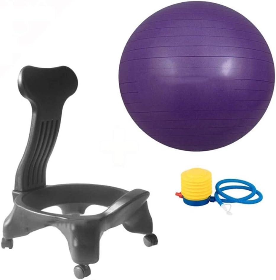 YPSMLYY Silla De Pelota De Yoga De Estilo Cl/ásico Silla De Equilibrio con Bomba De Aire Soporte De Respaldo Extra/íble Rueda Bloqueable para El Hogar Y La Oficina,Purple