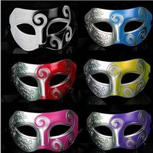 Dongcrystal 6 Pcs Men's Masquerade Mask Greek Roman Halloween Party Masks Baron Dance Performance (Very Easy Halloween Costumes For Guys)