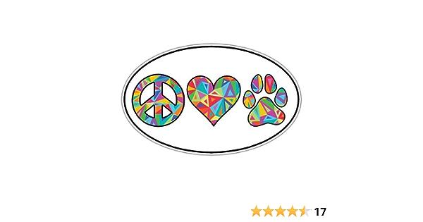 symbol heart paw print 3x9 inch Peace Love Dogs Bumper Sticker