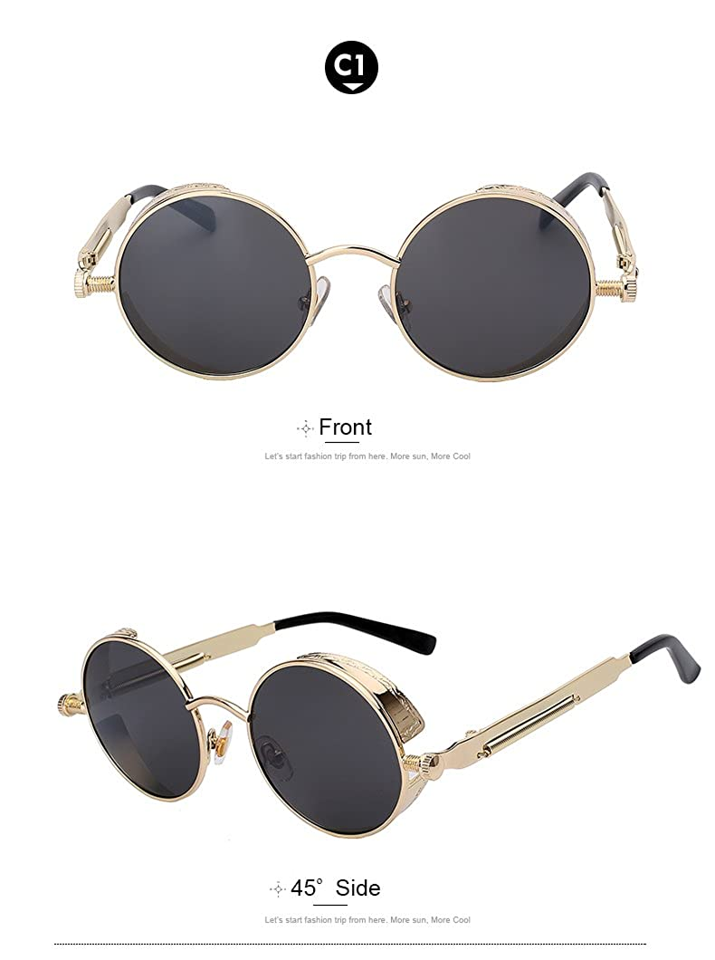 ceb77b5bc9 DALUCI Fashion Round Vintage Sunglasses Steampunk Man Lady Unisex sunglass  for Men Women (Gold Frame Black lens)  Amazon.in  Clothing   Accessories