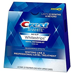 Crest 3D White Professional Effects Whitestrips are thin, flexible strips coated with a whitening gel. Designed to conform to the shape of your teeth, by keeping the whitening gel in place against your teeth to remove stains below the enamel surface.