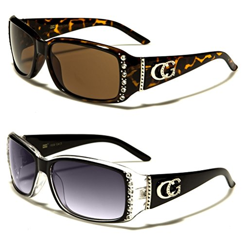 CG Eyewear 2 Packs Womens Rhinestone Designer Fashion Sunglasses (Black Clear & Tortoise)