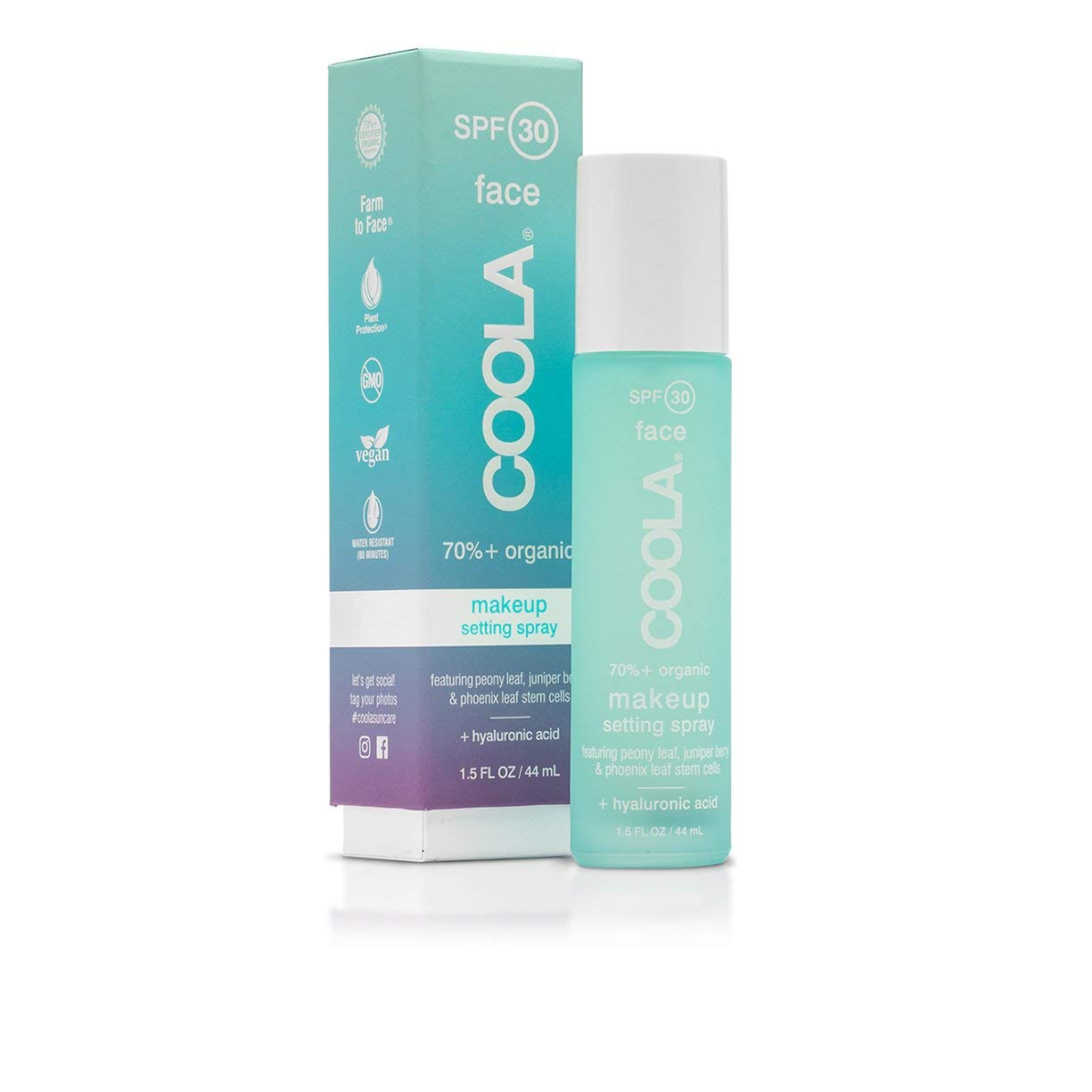 COOLA Organic Makeup Setting Sunscreen Spray | Weightless, Matte Finish | Broad Spectrum SPF 30 | Vegan, Non-GMO, Farm to Face | Natural Green Tea + Aloe Scent | Hyaluronic Acid | 1.5 ounces by Coola Suncare