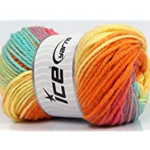 Lot of 4 x 100gr Skeins Ice Yarns MAGIC BULKY Yarn Yellow Orange Salmon Green Turquoise Lilac