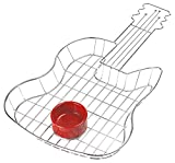 G.E.T. Enterprises 4-81999 Guitar Serving Basket with One Sauce Cup Holder Ring, Stainless Steel (Sauce Cup Sold Separately)