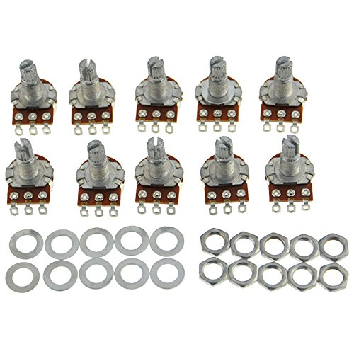 Guitar Potentiometer Audio Pots B500K OHM Replacement 16.5mm Base Dia 18mm Shaft Pack of 10