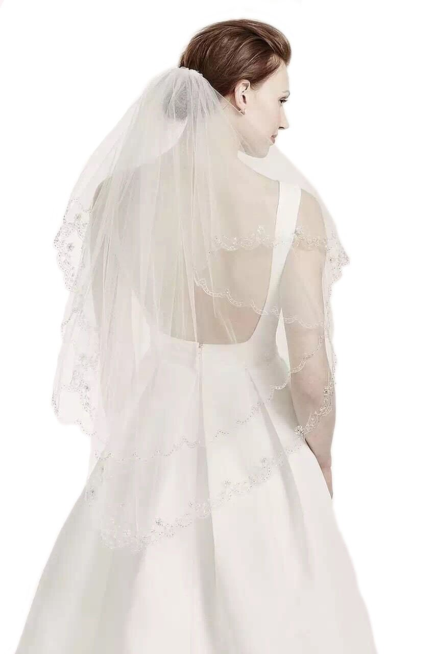 Gogh Pale Ivory 2 Tiers 110CM Walking Veil Silver Lined Beaded Edge Fingertip Length Bridal Wedding Veil 09