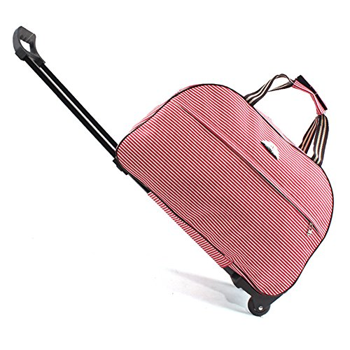 (SENLI Red stripe Luggage 23 Inch Rolling Duffle trolley bag travel tote Carry-On)