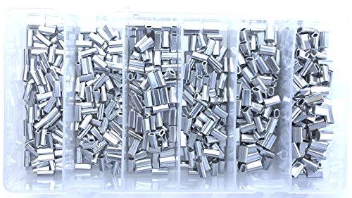 Oval Crimp - Mini Aluminum Oval Crimp Kit 100pcs 1.1,1.3,1.5,1.7,2.0,2.2mm