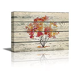 wall26 - Canvas Prints Wall Art - Abstract Art Water Color Style Tree on Vintage Wood Background Rustic Home Decoration - 16