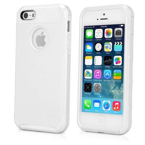 BoxWave duocolor Hybrid-Silikon und Kunststoff Schutzhülle für Apple iPhone 5Case, Apple iPhone 5, Farbe: Weiß/Weiß)