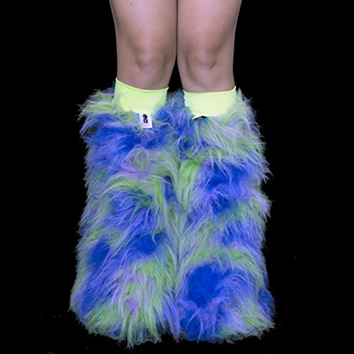 Psy Shoes Costume (Earth Camo Green, Lilac,and Royal Blue Rave Furry Legwarmers Fluffies)