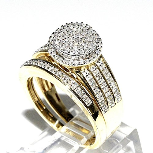 com rings midwestjewellery his her 10k yellow gold halo - Gold Wedding Rings For Her