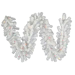 "Vickerman 9' x 12"" Crystal White Garland with 50 Multi-colored lights"