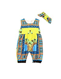datework Toddler Kids Baby Girl Outfits Clothes African Print Sleeveless Romper Jumpsuit