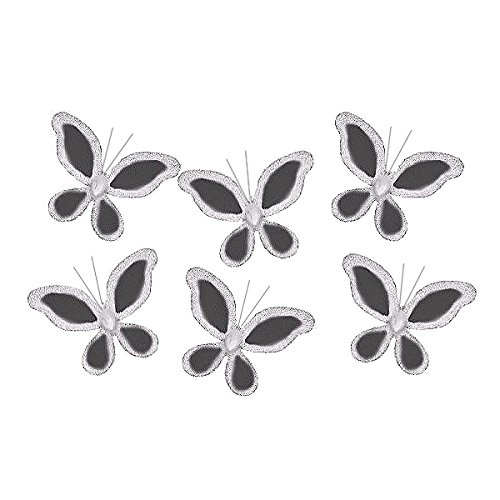 The Butterfly Grove Caitlyn Butterfly Decoration 3D Hanging Mesh Nylon Decor, Midnight Black, Mini, 2