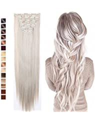 Amazon silver hair extensions extensions wigs s noilite 26 long straight curly 8 pieces clip in on pmusecretfo Image collections