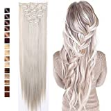 S-noilite 26'' Long Straight Curly 8 Pieces Clip in on Hair Extensions (Ash Blonde Mix Silver Grey) Full Head Set Thick Hairpiece Synthetic Hair Extensions for Girl Lady Women USA Local Post