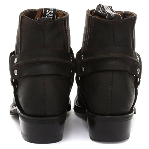 Grinders Mens Harness Lo Crazy Horse Leather Boots marrone