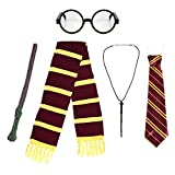 Kids School Boy Fancy Dress Costume Accessories (Glasses, Elastic Tie, Scarf, Wand and Necklace)