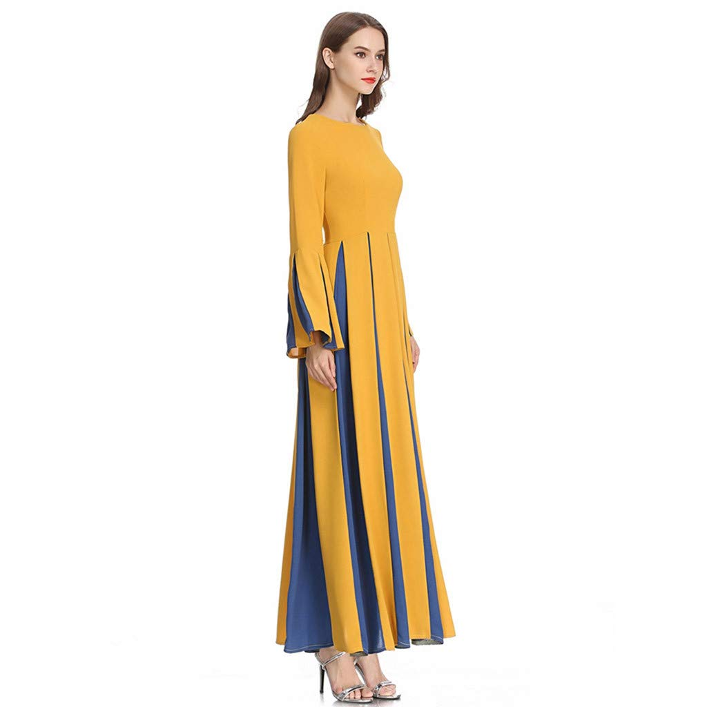 Sayhi Muslim Women's Stitching Slim A-line Pleated Dress Temperament Lady Dress Gowns Robe for Party Occasion(Yellow,M) by Sayhi (Image #3)