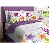 Purple, Green, Orange & White Girls Multi Flower Queen Comforter Set (7 Piece Bed In A Bag)