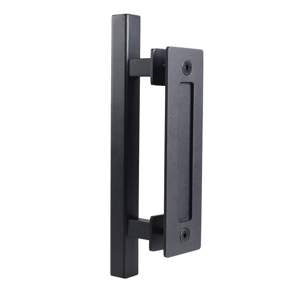 "WEBON Cabinet Handles 12"" Square Sliding barn Door Hardware Pull and Flush Handle Set with Steel Finish Coated Powder for Kitchen, Bathroom, Closet, Furniture Cabinet, Drawer(Black)"