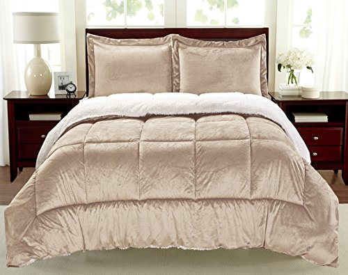 Cathay Home Fashions Reversible Faux Fur and Sherpa 3 Piece Comforter Set, Queen, Carmel ()