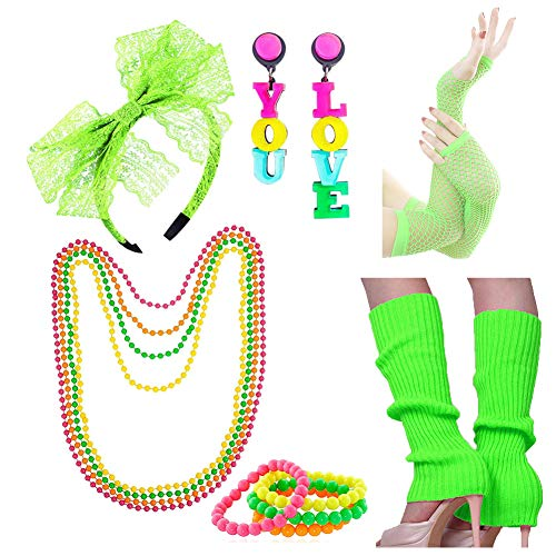 Halloween Dance Recital Songs (Women's Juniors 80s Costume Outfit Accessories Set Leg Warmers)