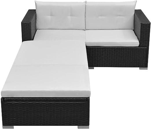 Luckyfu questo sofá de jardín Set 8 Unidades de Polirratán Modular Negro.El Juego Sono Robusto y Resistente.Buna Ideal para Giardini. Set Muebles de jardín Conjunto sofás de Exterior sofá de jardín: Amazon.es: