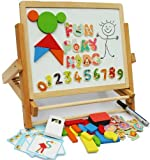 Toys of Wood Oxford Wooden Easel - Foldable Table Top Easel Double Sided Magnetic Boards with magnetic shapes, magnetic alphabet, magnetic numbers