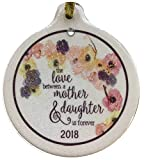 Laurie G Creations Love Between Mother and Daughter is Forever 2018 Porcelain Ornament Flower Watercolor Gift Boxed