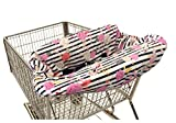 Itzy Ritzy Shopping Cart and High Chair Cover Featuring Padding, Toy Loops, Pockets and Safety Belts - for Use in Shopping Carts and High Chairs, Floral Stripe