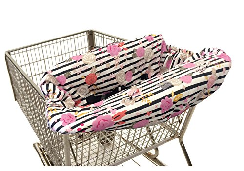 - Itzy Ritzy Shopping Cart and High Chair Cover Featuring Padding, Toy Loops, Pockets and Safety Belts - for Use in Shopping Carts and High Chairs, Floral Stripe