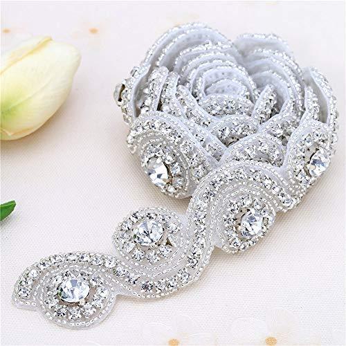 DUOBAO Rhinestone-Sash-Belt Beaded Rhinestone Applique Rose Gold Bridal Shower Sash Crystal Rhinestone Applique Trim Womens Wedding Belt
