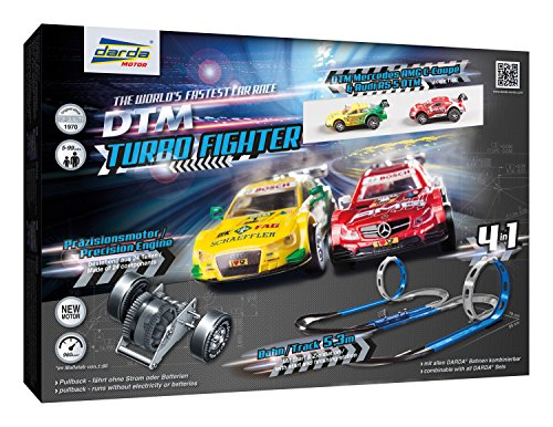 DTM Turbo Fighter Race Track Set with Mercedes and Audi Toy Cars for Ages 5+