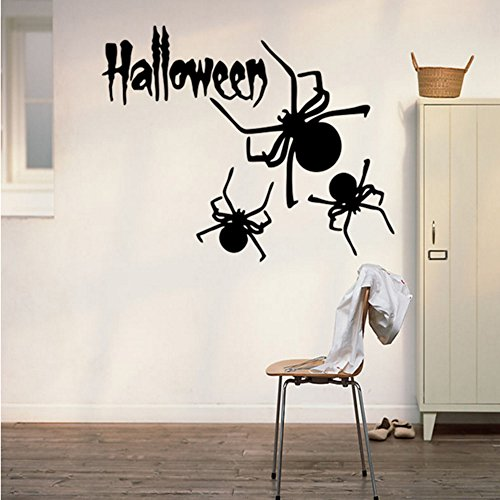 Happy Halloween Spider Wall Decals Window Stickers Halloween Decorations for Kids Rooms Nursery Halloween Party, 22.4 x 14.1 -