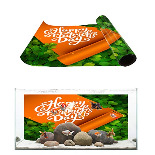 Fantasy Star Aquarium Background St Patrick's Day Shamrocks and Yoga Mat Pattern Fish Tank Wallpaper Easy to Apply and Remove PVC Sticker Pictures Poster Background Decoration 24.4