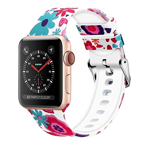 (WISHTA Compatible with Apple Watch Band 38mm 42mm 40mm 44mm, Women Pattern Printed Rubber Straps Replacement Sport Bands for iWatch Series 4/3/2/1 (Flower 15, 42mm/44mm))