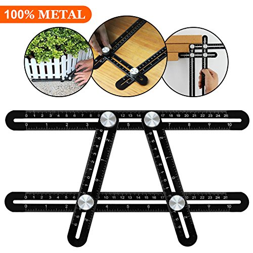 Angleizer Template Tool, WOWGO Multi Angle Measuring Ruler, Easy Angle Ruler for Handymen, Builders, Craftsmen, Roofers or Any DIY Project