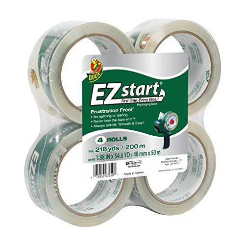 (Duck Brand EZ Start Packing Tape Refill, 4 Rolls, 1.88 Inch x 54.6 Yard, Clear)