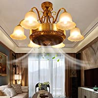 RS Lighting Modern Anion 6 Lights Ceiling Fan Chandelier With Glass Flower Lampshades Remote Control for Living Room Dining Room Bedroom and Restaurant Ceiling Lighting Fixture (35-Inch)