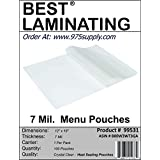Best Laminating - 7 Mil Clear Menu Size Thermal Laminating Pouches - 12 X 18 - Qty 100