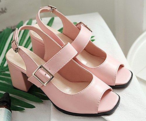 Chunky Ouvert Mode Sandales Rose Bout Femme Aisun Boucle xOqtwPBgX